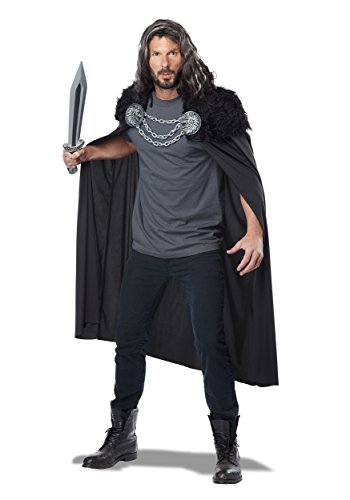 California Costumes Men's Wolf Clan Warrior Cape, Black One Size ()
