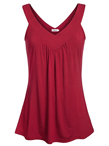 Ninedaily Women Comfy Sleeveless Tunic Top Pleated V Neck Tanks Vest Summer Wine Large