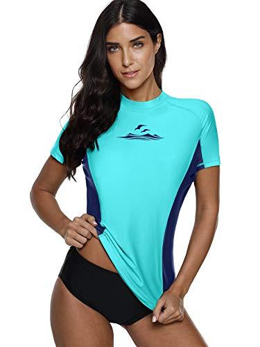 (Rash Guard Women Splice Swim Tops Short Sleeve Surfing Shirt Rashguard Blue XL)
