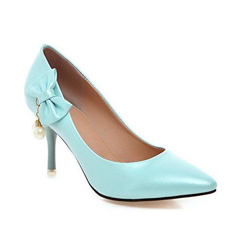 AllhqFashion Damen Stiletto Weiches Material Rein Spitz Schließen Zehe Pumps Schuhe Blau