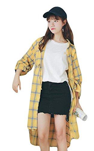 レディース ワンシャツ 夏 秋 長袖 シャツ シンプル ブラウス ゆったり アウター おしゃれ トップス チェック シャツ 薄手 通気 日焼け止め 紫外線防止
