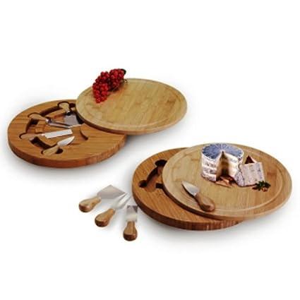 Natural Living Bamboo Swivel Cheese Board And Knife Set Amazon Ca