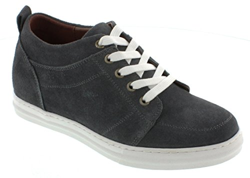 CALDEN K4125774-2.6 Inches Taller - Size 10 D US - Height Increasing Elevator Shoes (Charcoal Grey Suede Campus Style Lace up Casual Shoes) Campus Round Shoe