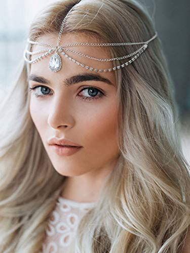 Barogirl Head Chain Jewelry Wedding Headband Rhinestones Boho Bridal Headpiece for Women and Girls (Silver)