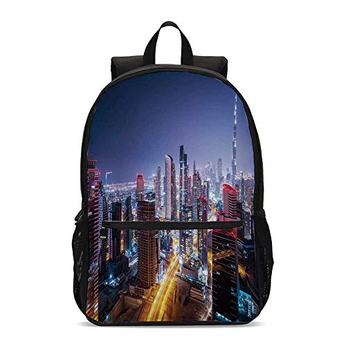 City Durable Backpack,Nighttime at Dubai Vivid Display United Arab Emirates Tourist Attraction Travel Theme for School Travel,12.2
