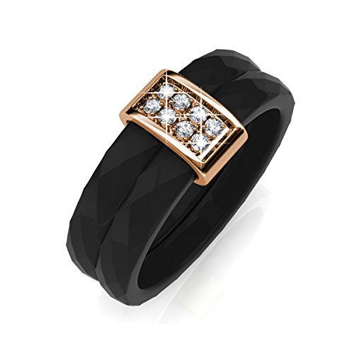 641f042115cbf FAPPAC 18k Rose Gold Plated Crystals Bars and Black Ceramic Ring ...