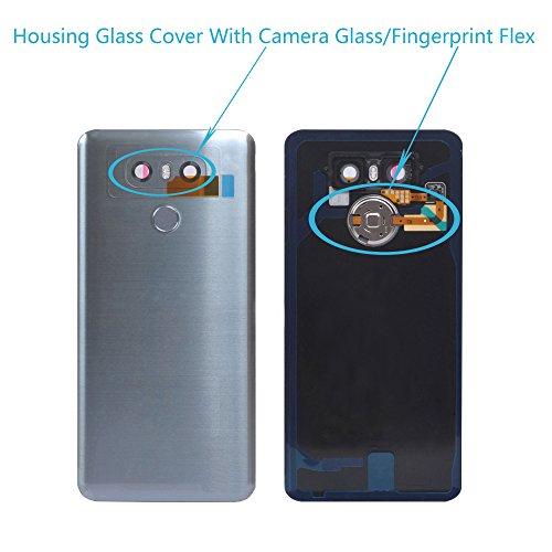 Alovexiong Rear Back Battery Cover Full Housing Glass Door Cover Panel Assembly + Fingerprint Flex Sensor+Camera Glass Lens Cover Parts Replacement for LG G6 H872 VS998 LS993(Silver/Gary/Light Blue)