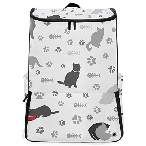 Price comparison product image MALPLENA Background with Cats Paw Print and Fish Bone Depos Extra Large Backpack Durable Travel Computer Backpack for Men&Women Big Business
