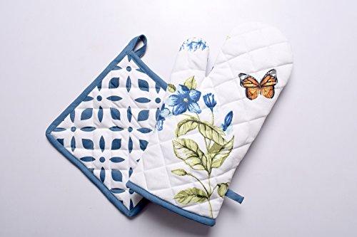 - Lushness_Linen Monarch Meadow 100% Cotton Set of Oven Mitt & Pot Holder