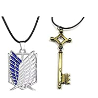 Combo Pack of Attack on Titan Eren Jaeger Key and Survey Corps Logo Pendant Necklace - Pack of 2 - AOT Cosplay - Gifts…