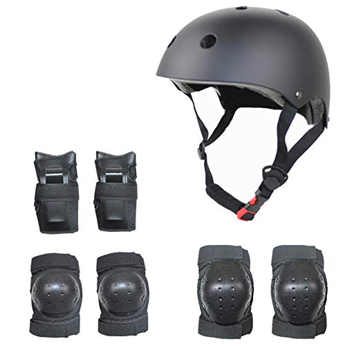 Zhahender Fitness Training 7pcs Children Protective Gear Set Elbow Pads Knee Pads Wrist Protector for Cycling Roller Skating Skateboard (Color : Black)