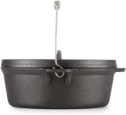 Klarstein Hotrod Quickstick M Edelstahl-Henkel für Dutch Oven (Ø 35 cm, für BBQ-Töpfe, große vorgeformte Haken) Silber