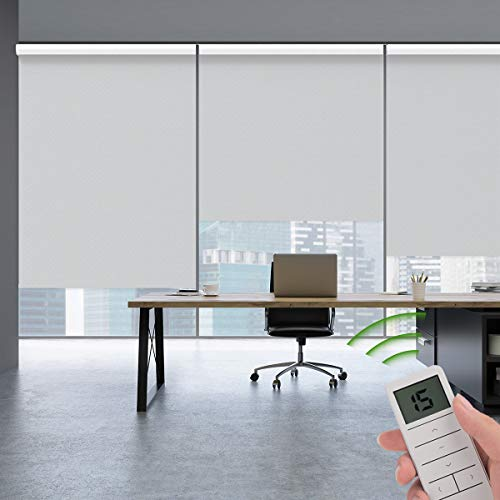 Rekabel Motorized Roller Window Shades Blinds Waterproof 100% Blackout Cordless Free-Stop Wireless Remote Automatic Electric Powered Shades with Valance for Smart Home and Office, Customized Size