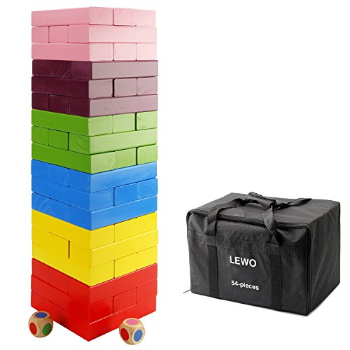 Lewo Wooden Giant Stacking Games Hardwood Blocks Tumble Tower Building Toys 54 pieces with Storage Bag by Lewo