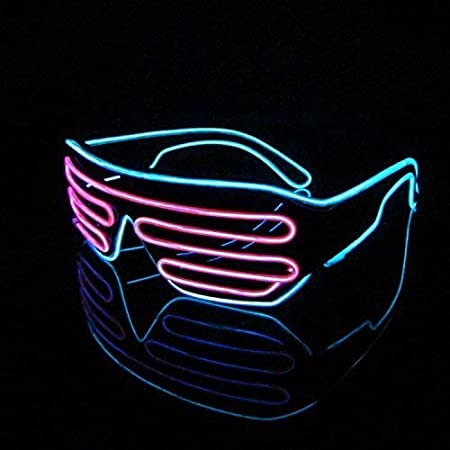 Image ofKaliwa Gafas para Fiestas, LED Gafas Multicolor, Gafas LED con Caja de Batería, para Carnaval / Halloween / Año Nuevo Cosplay Disfraz / Party / Navidad Decoración - Azul + Rosa