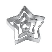 SODIAL(R) Star Cut Outs Cookie Cutters,Set of 3