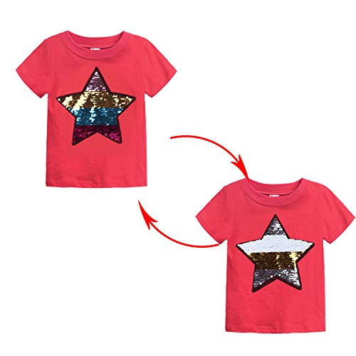 Buy Paillette Cotton Star Sequin Color Changing Reversible Tshirt For Kids 10 Yrs 12 Yrs Red At Amazon In