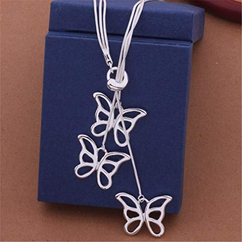 Fashion Elegant Ladies Necklace 925 Butterfly Pendant Long Necklace Mulit Chain Silver Plated Jewelry Loving Gift
