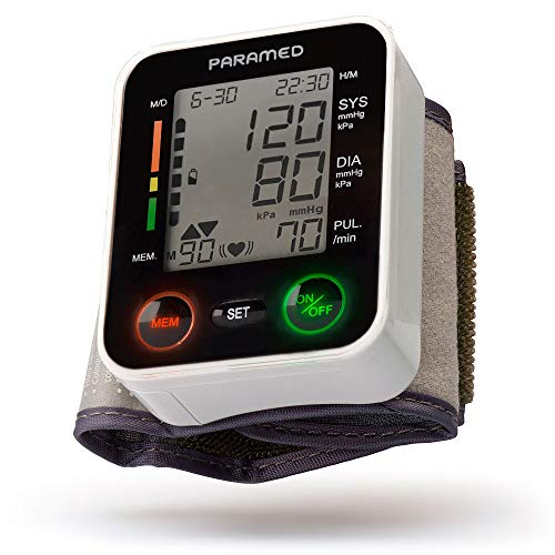 - Automatic Wrist Blood Pressure Monitor by Paramed:Blood-Pressure Kit of Bp Cuff + 2AAA and Carrying case - Irregular Heartbeat Detector & 90 Readings Memory Function & Large LCD Display - FDA approved