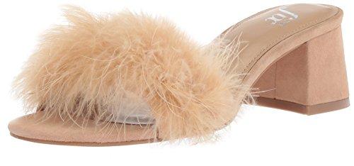 The Fix Women's Luisa Single Strap Feather Block Heel Mule, Dove Suede, 6.5 B US