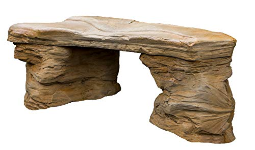 Cast Stone Petrified Rock Bench, Commercial Grade Concrete Benches, 3 Piece Concrete Bench, Hand Sculpted Fine Cast Stone Patio Furniture & Rock Bench