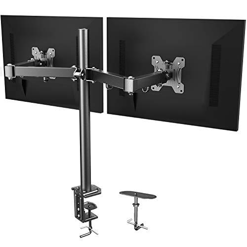HUANUO Soporte 2 Monitores, Totalmente Ajustable para Dos Pantallas LCD LED de Tamano Desde 13 a 27 Pulgadas, 2 Opciones de Montaje, VESA 75/100