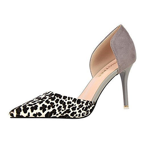 z&dw Hueco fino atractivo con los altos talones sandalias afiladas del patrón del leopardo del remiendo Gris