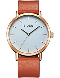 ALPS Womens Mens Unisex Waterproof Simple Casual Analog Quartz Brown Leather Band Dress Wrist Watch