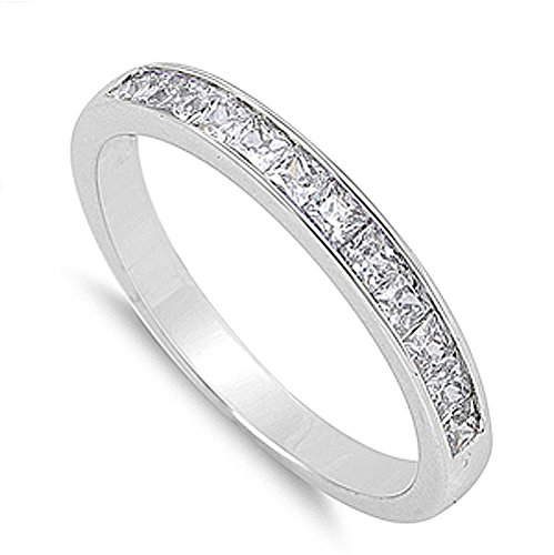 (Double Accent Sterling Silver Wedding Ring Princess Cut Channel Set Wedding Band 3MM (Size 5 to 12), 5)