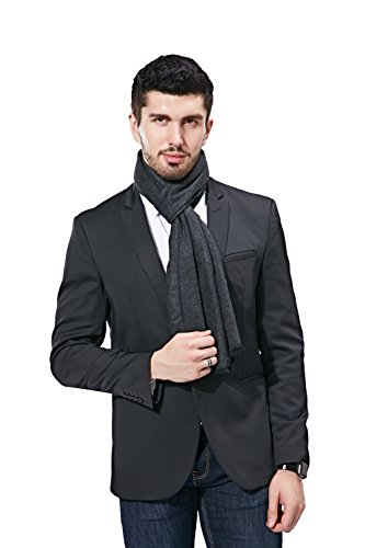 FULLRON Men Winter Scarf Long Cashmere Scarves, Grey Cotton Scarf for Men by FULLRON (Image #6)