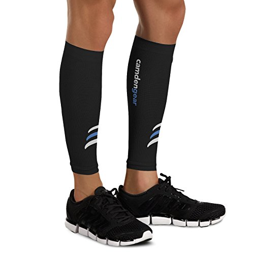 Calf Compression Sleeve by Camden Gear - Helps Shin Splints. Leg Socks for Men and Women Black - Medium (Sleeve Compression Top)