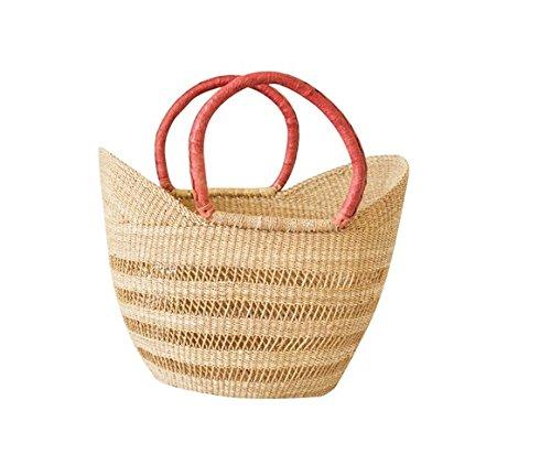 Open Wave Yikene U-Shopper - Ghana Bolga Beach Bag | Dye Free Basket (Market Oval Basket)