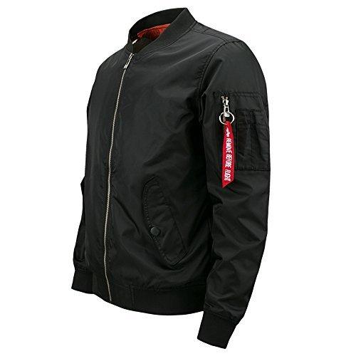 LANBAOSI Men's MA-1 Flight Jacket Black Fashion Military Bomber Jackets