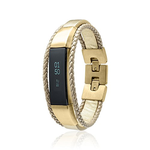 fitjewels Alta HR Bands - Aurel Leather Replacement Band, Available in Black, Brown, Gold, Silver and Grey (Gold-Gold, S-M (5.5-6.5 inch))