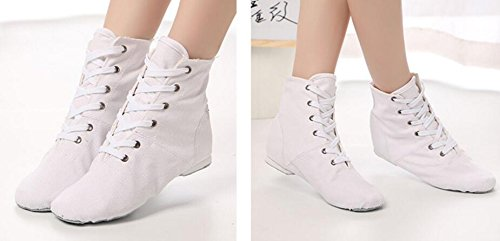 Over up 5 Canvas missfiona White Boots Womens Modern 6 Lace Shoes Jazz The Ballroom Dance Ankle 6RqRIfwxn