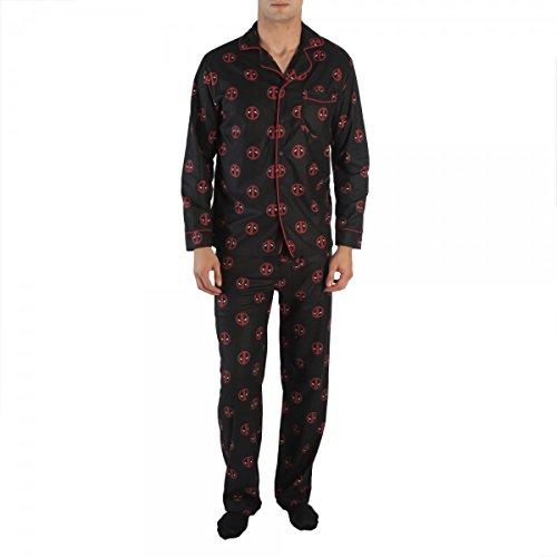 Bioworld Deadpool Logo Lots Of Tiny Logos Men's Old School Pajama Shirt and Pants Set (L)
