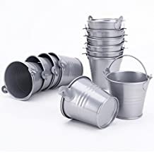 Surepromise 12pcs Silver Mini Metal Bucket Candy Favours Box Pail Wedding Party Gifts