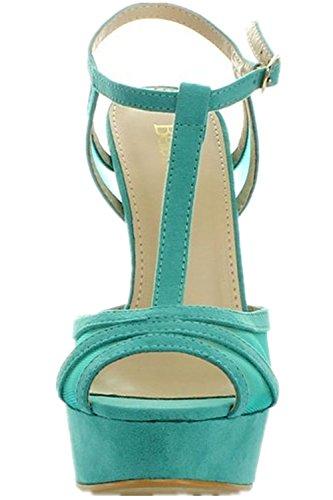 Bellamarie Femmes Histoire-1 Cheville T-strappy Sandale Peep Toe Plate-forme Pompe Talons