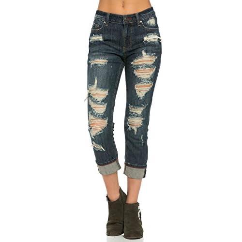 Cuffed and Destructed Boyfriend Jeans in Dark Wash