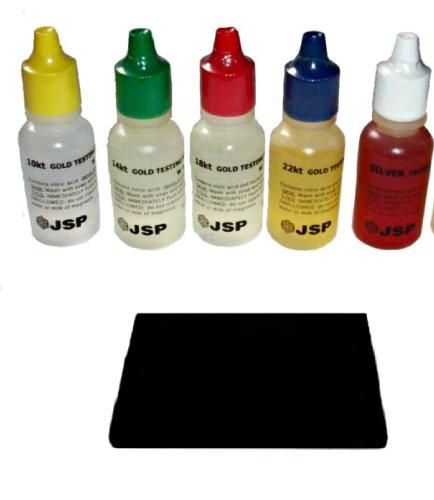 Gold Testing Acid Solution Kit-10K 14K 18K 22K Silver and Scratch Stone Set