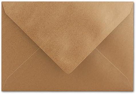 [Gesponsert]50 Brief-Umschläge - Gold Metallic - DIN C6-114 x 162 mm - Kuverts mit Nassklebung ohne Fenster für Gruß-Karten & Einladungen - Serie FarbenFroh®