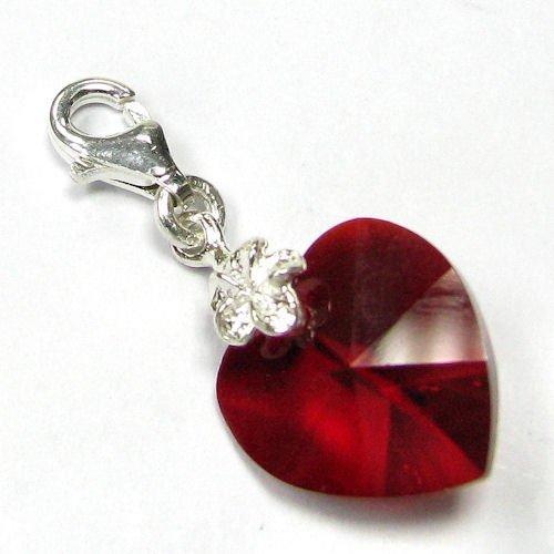 f6da03e30c5eb Sterling Silver Swarovski Elements Crystal Siam Red Heart Love July ...