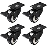 """Swivel Caster Wheels Rubber Base with Top Plate & Bearing Heavy Duty with Total Lock Brake Pack of 4 Black by Online Best Service (3"""" With Brake)"""