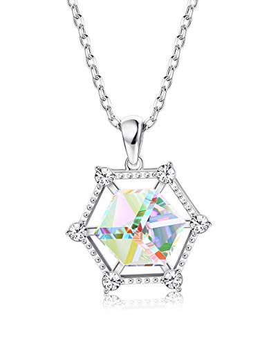 Sllaiss 925 Sterling Silver Square Aurora Crystal Pendant Necklace for Women Cubi Zirconia Hexagon Necklace, Crystals from Swarovski Fine Jewelry Gift