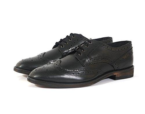Herren Klassisch Schnürer Leder Halbschuhe Schnürschuhe In Hellbraun und schwarz Leder Sohle Schwarz