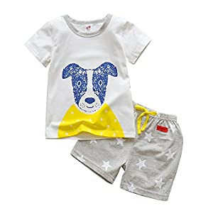 IjnUhb Toddler Boy Clothes Set Dog Shirt Star Pants Short Sleeve Summer Outfits for Girl (White,3T)