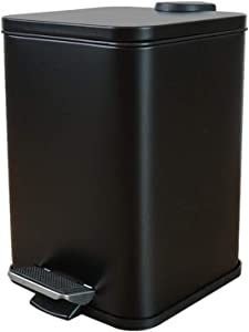 kiuetsa Bathroom Trash Can with Lid, Small Black Wastebasket Square Rectangular Shape, Modern Garbage Bin Pail Container for Home, Living Room, Office, Kitchen, 1.3 Gallon/ 5 Liter