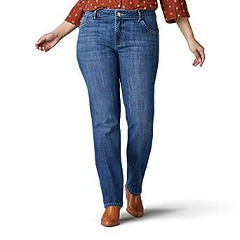 Lee Womens 30808 Plus Size Iconic Regular Fit Straight Leg Jean Jeans - Blue - 22W Long