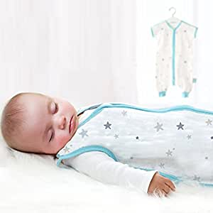 Elf Star Ultra Soft and Breathable Baby Cotton Wearable Blanket (6-12 Months M, Blue)