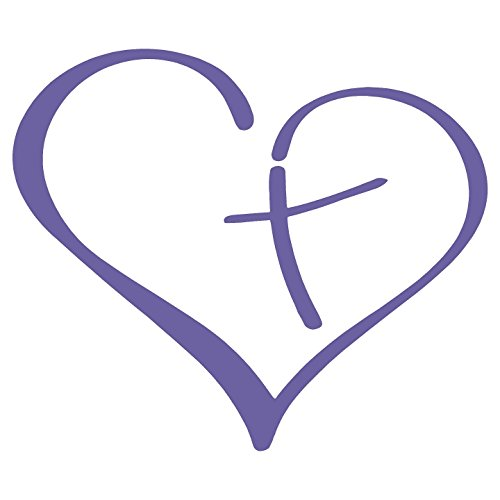 Lavender Cross - Heart with Cross in Center Christian Decal Sticker (Lavender, 3.5